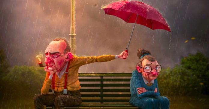 Foto representando casais que brigam, um senhor na chuva sentando longe da esposa segurando um guarda chuva pra ela